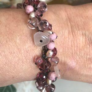 Premier Designs pink purple beaded bracelet EUC